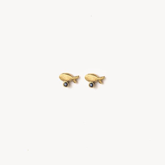 Giuliatamburini -  Pesci Oro giallo 18 kt e zircone blu
